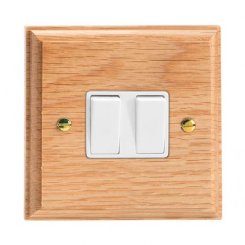 Varilight XK71OW Kilnwood Oak 2 Gang 10A Rocker Light Switch (1 x Intermediate 1 x 2W)